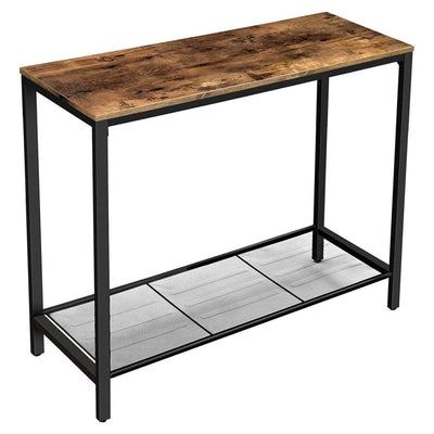 "39"" Wood Top Console Table with Mesh Shelf, Brown and Black By Casagear Home"