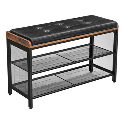 "32"" Tufted Shoe Bench with 2 Mesh Shelves, Brown and Black By Casagear Home"