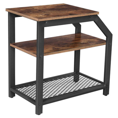 2 Tier Side Table with Wood and Mesh Shelf, Brown and Black By Casagear Home