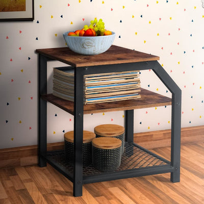 2 Tier Side Table with Wood and Mesh Shelf Brown and Black By Casagear Home BM217086
