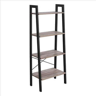 "54"" 4-Tier Ladder Style Bookcase, Taupe Gray and Black By Casagear Home"