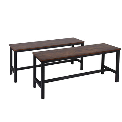 "42"" Wood Top Bench , Set of 2, Brown and Black By Casagear Home"