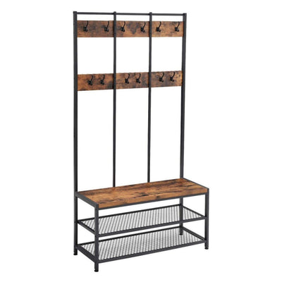 "73"" 12-Hook Hall Tree with 3 Shelves, Brown and Black By Casagear Home"