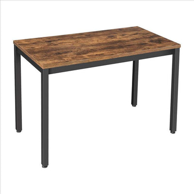 "47"" Wood Top Writing Desk with Metal Legs, Brown and Black By Casagear Home"
