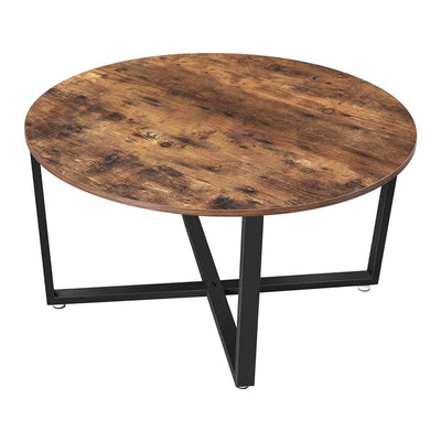 "36"" Round Wood Top Coffee Table, Brown and Black By Casagear Home"
