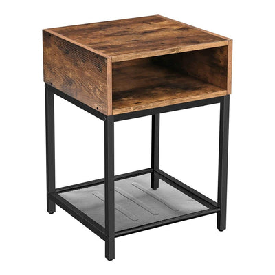 1 Cubby Nightstand with Mesh Shelf, Brown and Black By Casagear Home