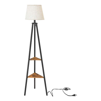 "59"" Tri-Pod Style Floor Lamp with Drum Shade, White and Black By Casagear Home"