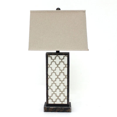 "30"" Quatrefoil Pattern Rock Base Table Lamp Shade, Brown By Casagear Home"
