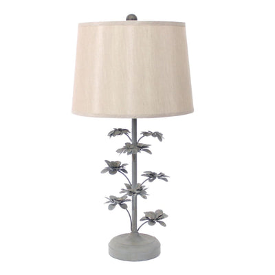 "28"" Flower Tree Design Table Lamp Shade, Gray and Biege By Casagear Home"