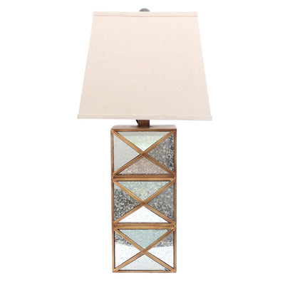 "27"" X Shape Table Lamp With Mirror Front, Multicolor By Casagear Home"