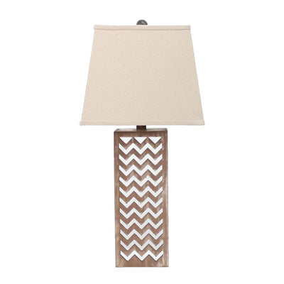 "27"" Chevron Design Table Lamp Shade, Brown and Silver By Casagear Home"