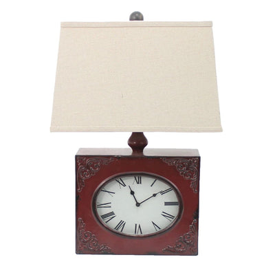 "22"" Clock Design Table Lamp Shade, Red and Biege By Casagear Home"