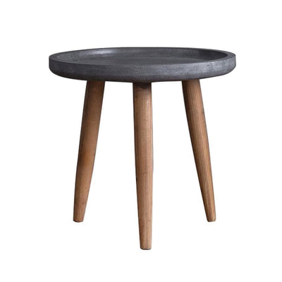 "20"" Round Side Table With Tapered Legs, Gray and Gold By Casagear Home"