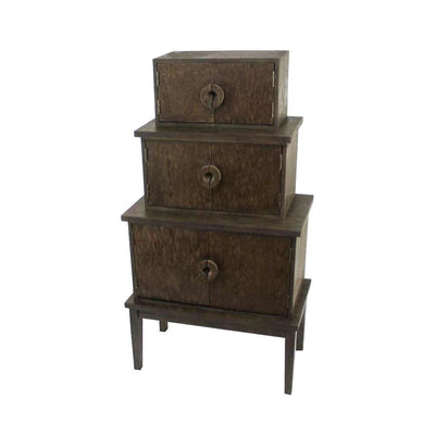 "34"" 3 Drawer Storage Cabinet With Tapered Legs, Brown By Casagear Home"