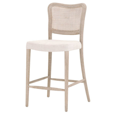 "40"" Cane Back Counter Stool With Padded Seat, Biege By Casagear Home"