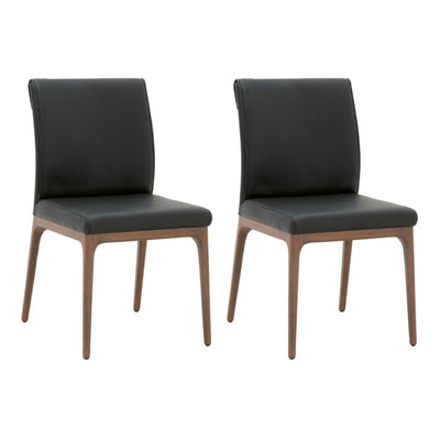 Leatherette Dining Chair with Stitched Back,Set of 2, Brown By Casagear Home