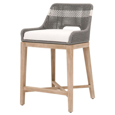 "35"" Rope Counter Stool With Cross Support, Dark Gray By Casagear Home"