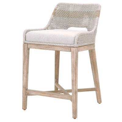 "35"" Rope Counter Stool With Cross Support, Light Gray By Casagear Home"