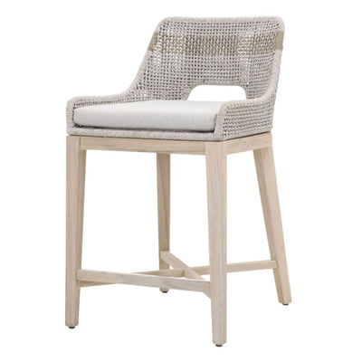 "35"" Rope Counter Stool With Flared Legs, Gray By Casagear Home"