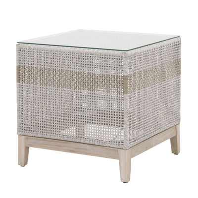 Rope Weave Design End Table With Glass Top, Gray and Brown By Casagear Home
