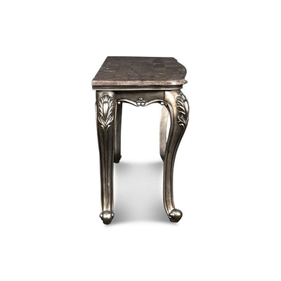 30 Marble Top Wooden Console Table with Carved Details,Gray By Casagear Home BM218023