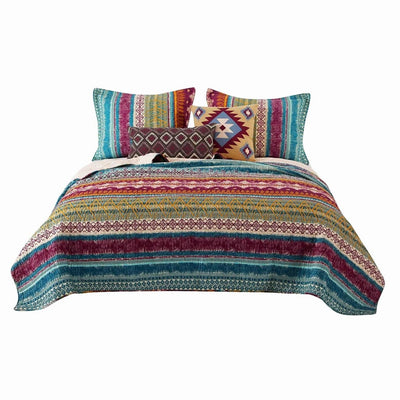 Tribal Print Full Quilt Set with Decorative Pillows, Multicolor By Casagear Home