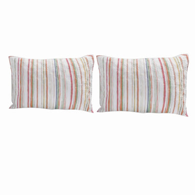 36 x 20 Polyester King Size Pillow Sham with Striped Print, Multicolor By Casagear Home