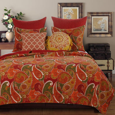 Paisley Print Twin Size Quilt Set with 1 Pillow Sham, Cinnamon Red By Casagear Home