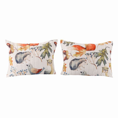 36 x 20 Inches King Size Pillow Sham with Fox and Owl Print, Multicolor By Casagear Home