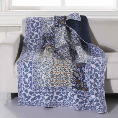60 x 50 Inches Cotton Throw Blanket with Leaf Print, Blue and White By Casagear Home