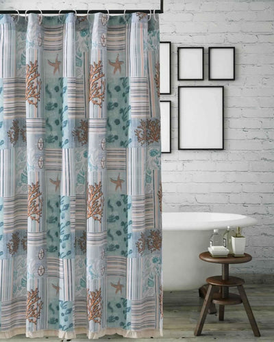 Sea Life Print Shower Curtain with Button holes, Blue and Brown By Casagear Home
