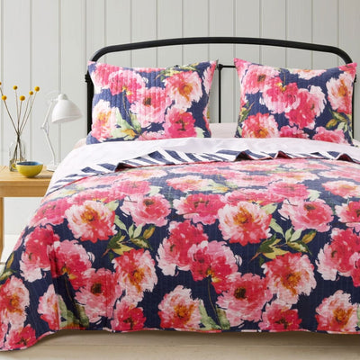 3 Piece Microfiber King Size Quilt Set with Floral Prints, Multicolor By Casagear Home