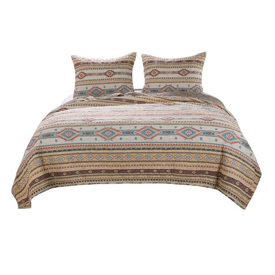 Full Size 3 Piece Polyester Quilt Set with Kilim Pattern, Multicolor By Casagear Home