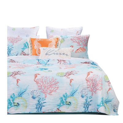 Full Size 3 Piece Polyester Quilt Set with Coral Prints, Multicolor By Casagear Home