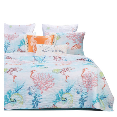 King Size 3 Piece Polyester Quilt Set with Coral Prints, Multicolor By Casagear Home
