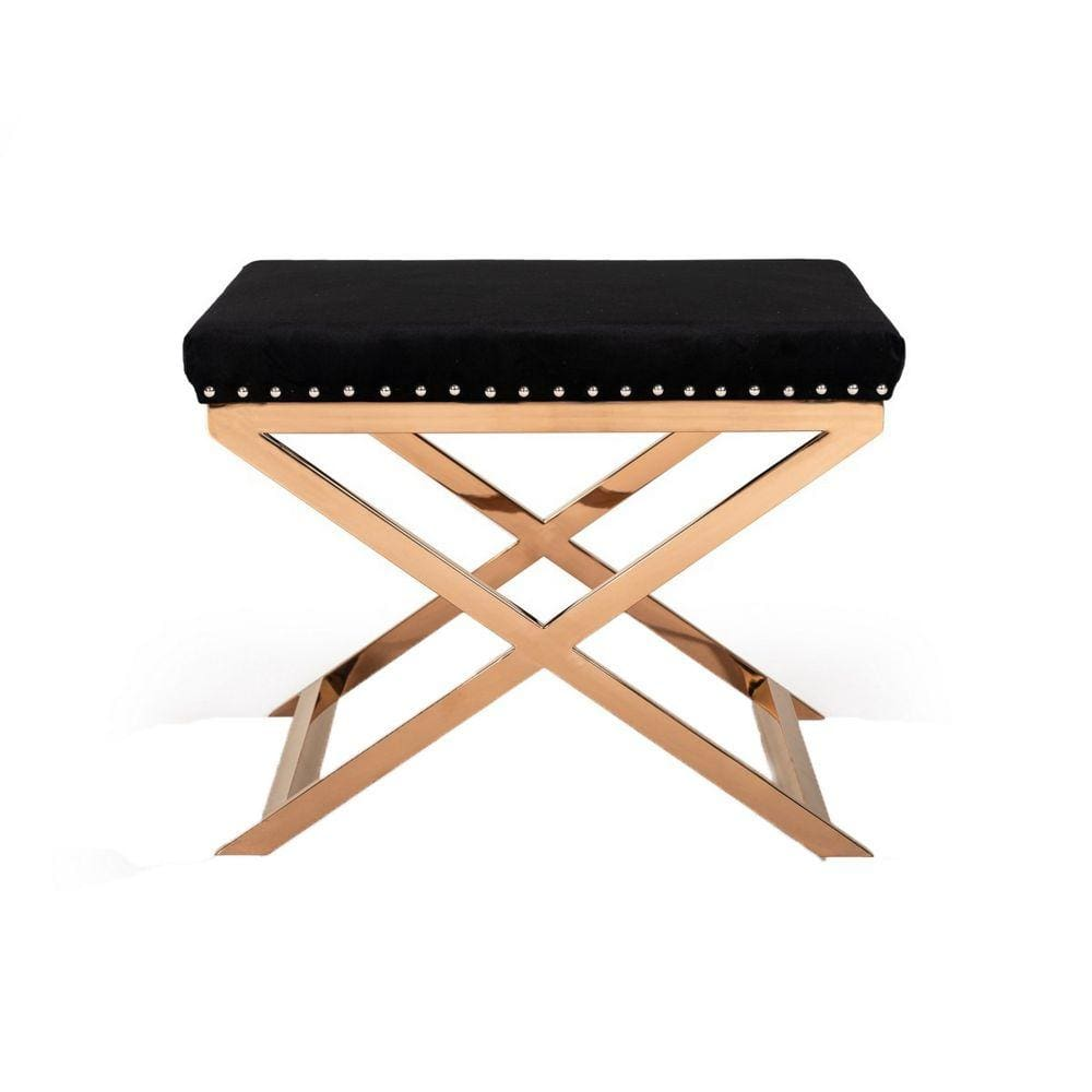 Fabric Ottoman with Double X Shaped Base, Black and Gold By Casagear Home