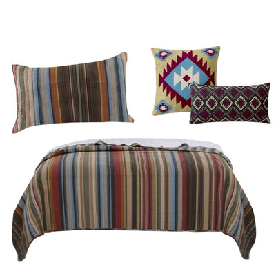 Striped Cotton Twin Quilt Set with 1 Sham and 2 Pillows, Multicolor By Casagear Home
