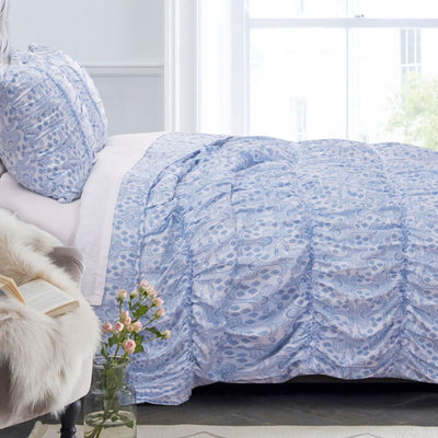 Fabric King Size Quilt Set with Pleated and Ruffled Details, Blue By Casagear Home