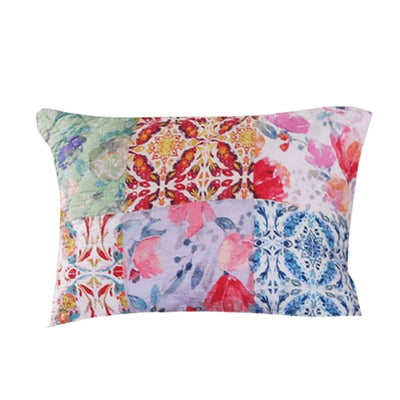 Hand Painted Fabric Pillow Sham with Floral Tile Art, Multicolor By Casagear Home