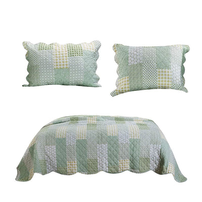 Reversible Fabric King Size Quilt Set with Geometric Pattern Motifs, Green By Casagear Home