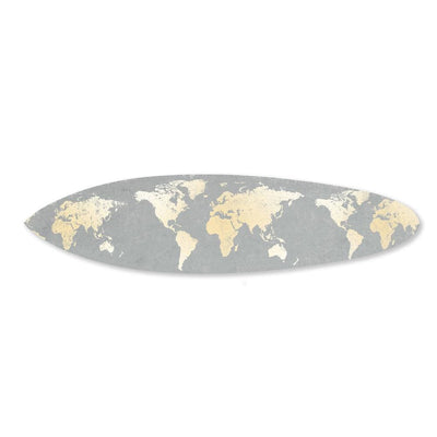 Wooden Surfboard Wall Art with World Map Print Gray and White BM220210