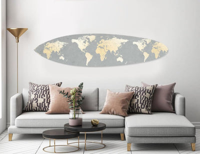 Wooden Surfboard Wall Art with World Map Print, Gray and White
