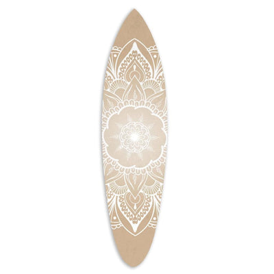Wooden Surfboard Wall Art with Medallion Print Brown and White BM220213