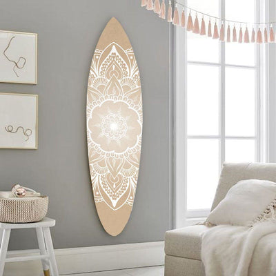 Wooden Surfboard Wall Art with Medallion Print, Brown and White