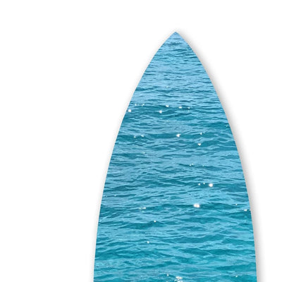 Wooden Surfboard Wall Art with Ocean Print Glossy Blue BM220214