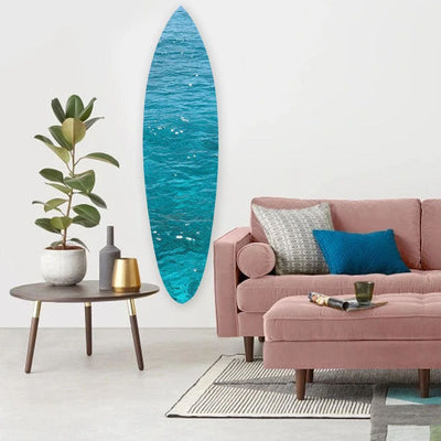 Wooden Surfboard Wall Art with Ocean Print, Glossy Blue
