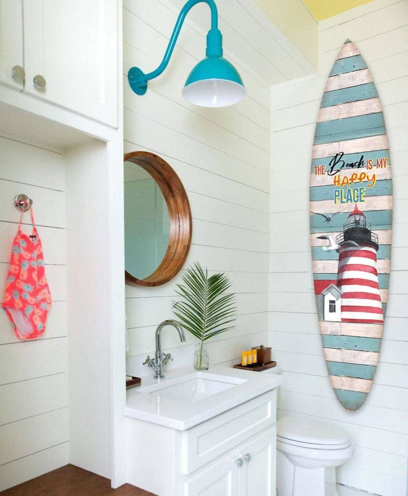 Wooden Surfboard Wall Art with Lighthouse Print and Typography, Multicolor