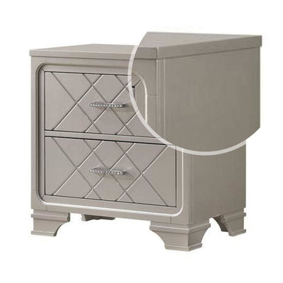 2 Drawer Wooden Nightstand with Diamond Pattern and Bracket Feet Silver By Casagear Home BM222436