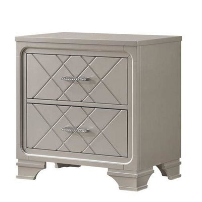 2 Drawer Wooden Nightstand with Diamond Pattern and Bracket Feet, Silver By  Casagear Home