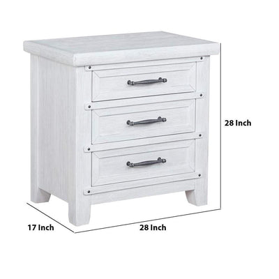 3 Drawer Wooden Nightstand with Antique Bar Handle and Nail Accents White By Casagear Home BM222437